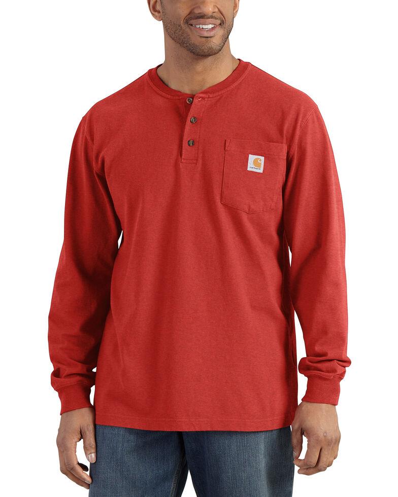 Carhartt Men's Workwear Henley Long Sleeve Shirt, Orange, hi-res