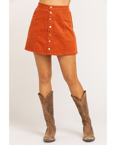 Wrangler Modern Women's Rust Button Front Mini Skirt , Rust Copper, hi-res