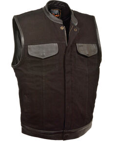 Milwaukee Leather Men's Black Denim Leather Trim Club Style Vest - Big 4X, Black, hi-res