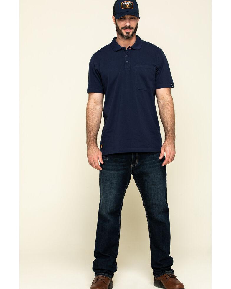 Hawx Men's Navy Miller Pique Short Sleeve Work Polo Shirt , Navy, hi-res