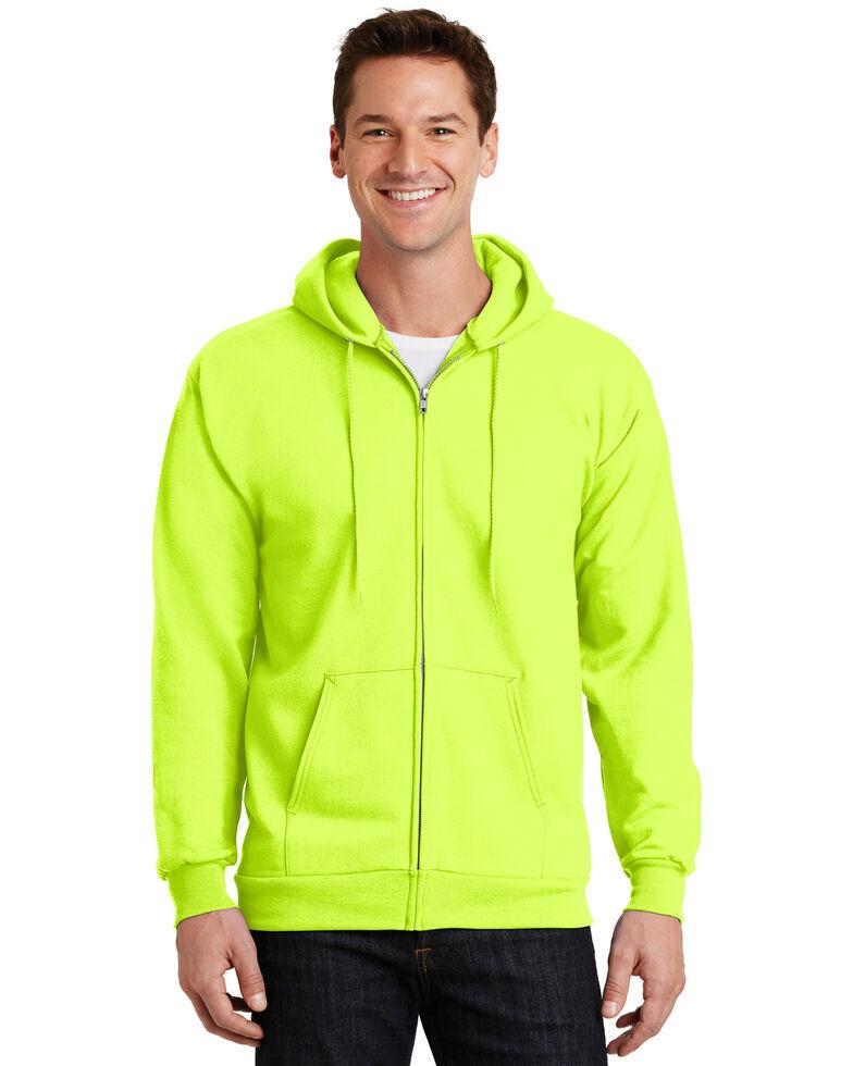 Port & Company Men's Safety Green Essential Fleece Full Zip Hooded Work Sweatshirt - Tall , Green, hi-res