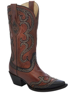 Corral Women's Tobacco Studded Western Boots, Cognac, hi-res