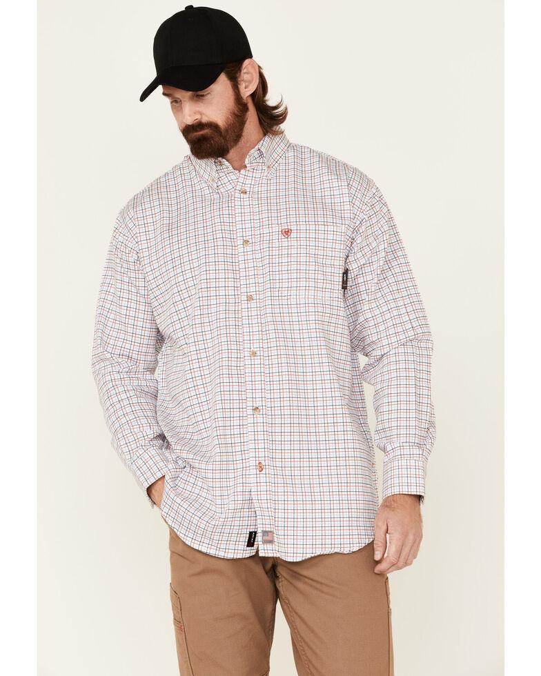 Ariat Men's FR Gauge White Plaid Long Sleeve Button-Down Work Shirt, White, hi-res