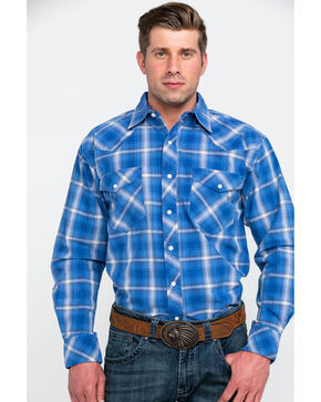 Resistol Men's Crater Lake Plaid Long Sleeve Western Shirt , Blue, hi-res