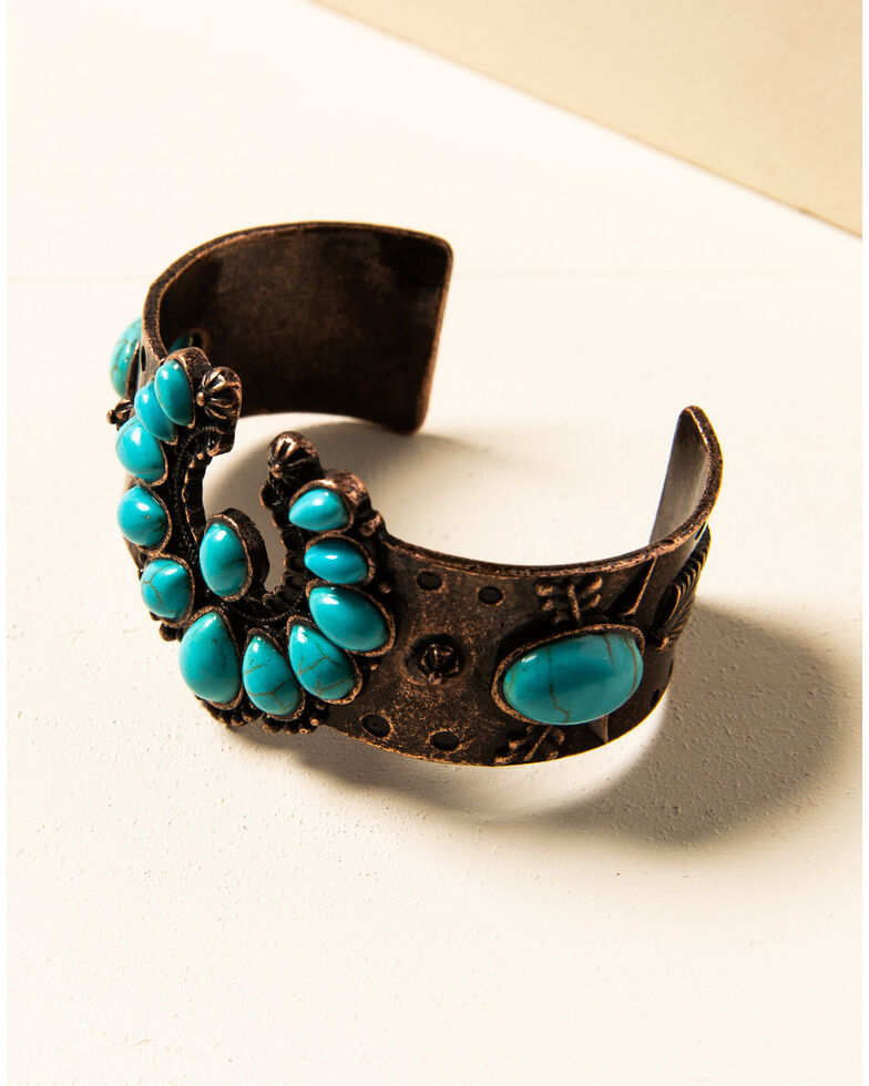 Shyanne Women's Willow Moon Copper Squash Blossom Cuff, Rust Copper, hi-res