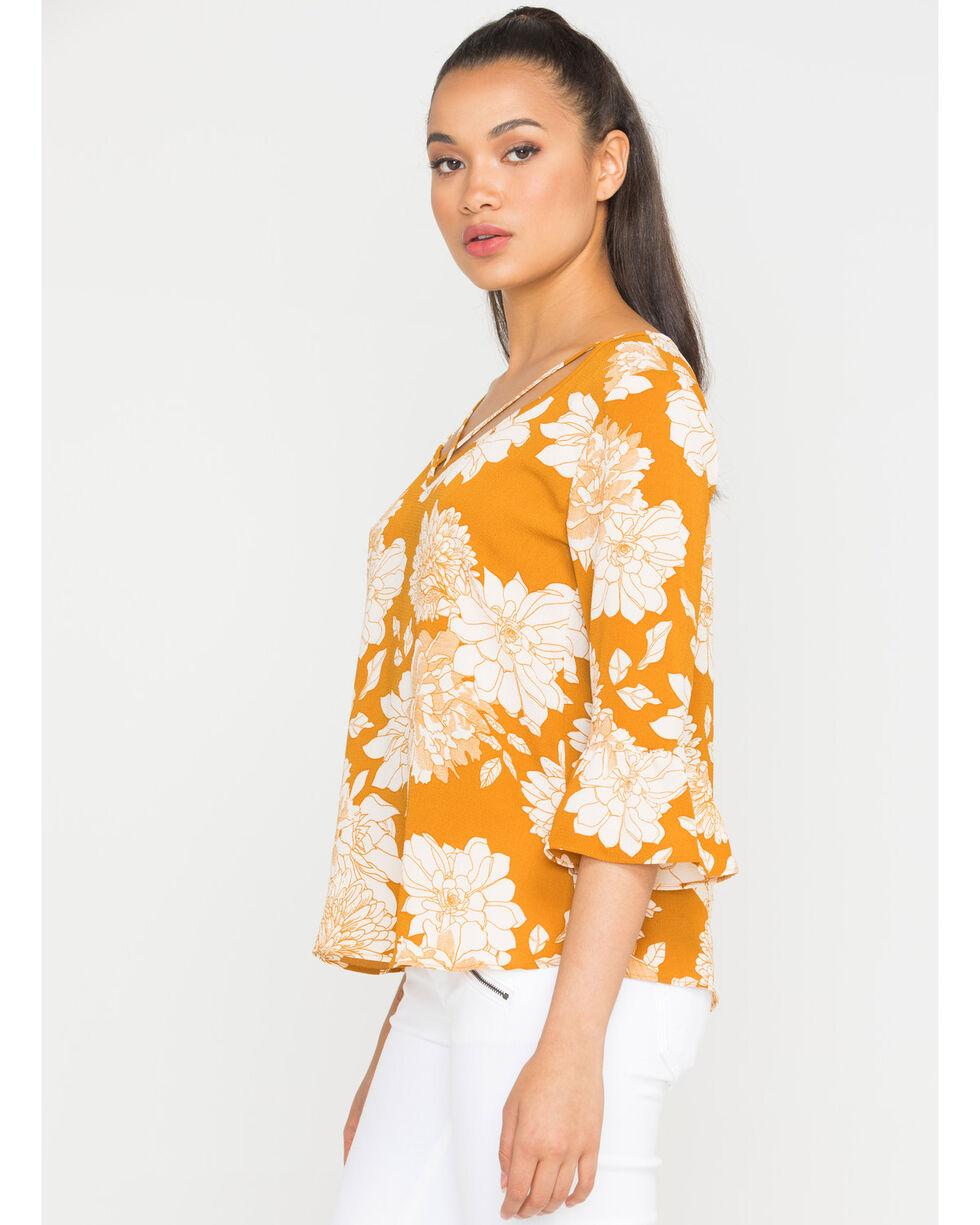 Wrangler Women's Floral Crisscross Long Sleeve Shirt, Dark Yellow, hi-res