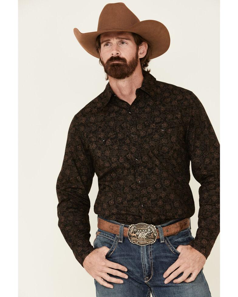 Stetson Men's Original Rugged Vintage Dot Floral Print Long Sleeve Western Shirt , Black, hi-res