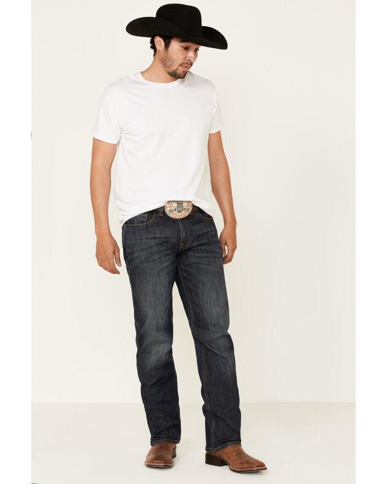 Rock & Roll Denim Men's Dark Vintage Stretch Stackable Relaxed Bootcut Jeans, Blue, hi-res