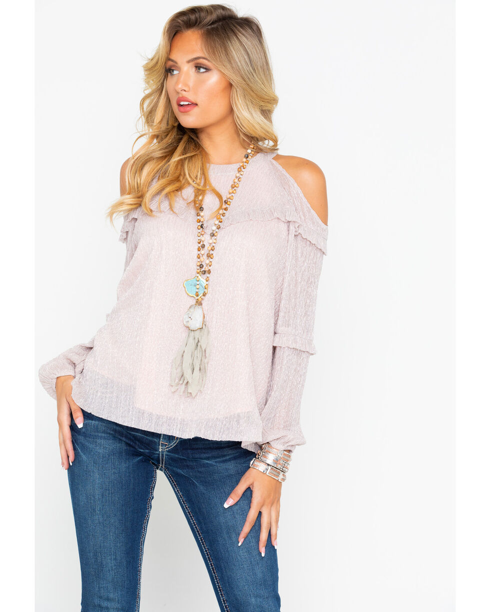 Miss Me Women's Cold Shoulder Ruffle Layered Long Sleeve Top , , hi-res