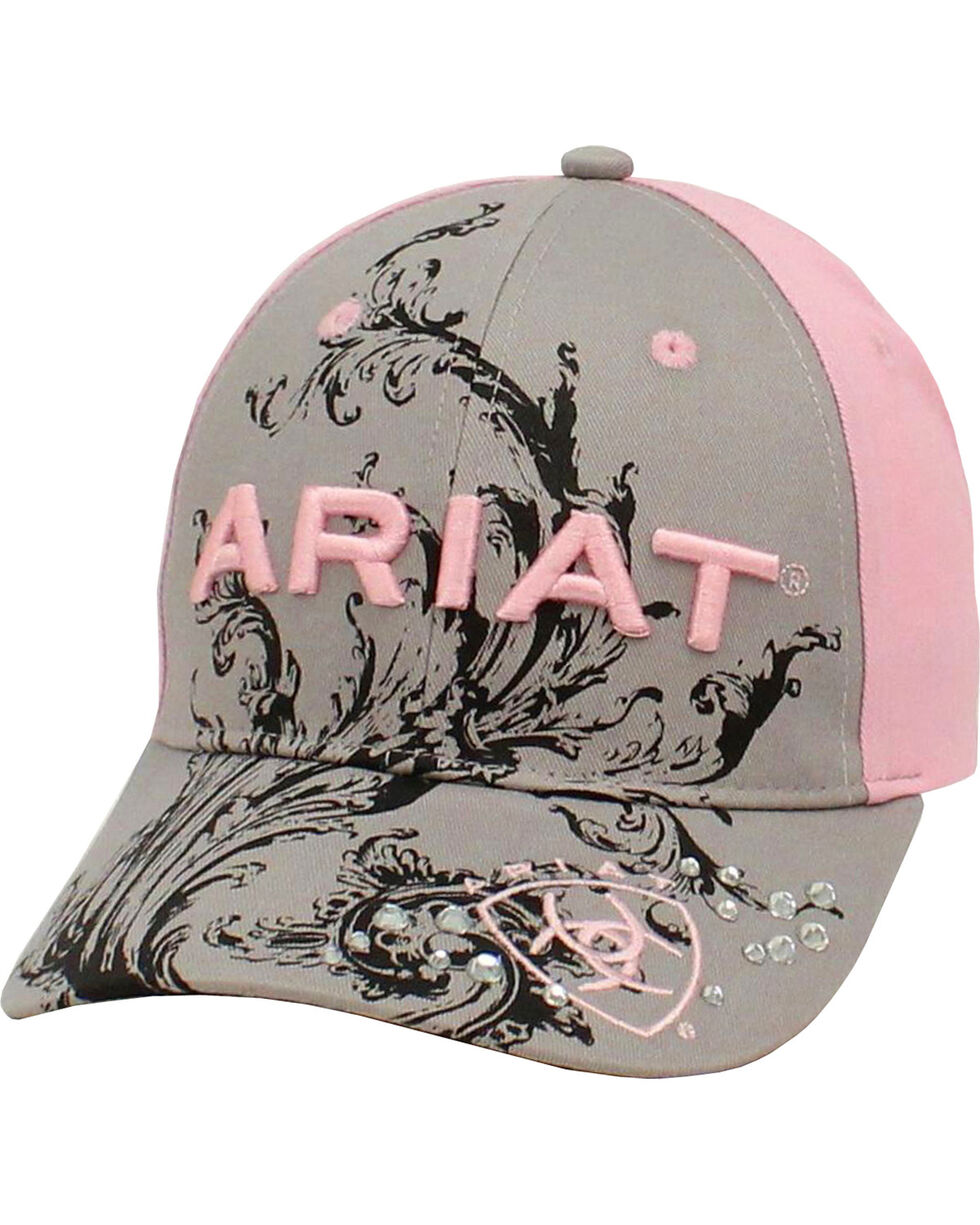 Ariat Women's Scroll and Rhinestones Baseball Cap, Grey, hi-res