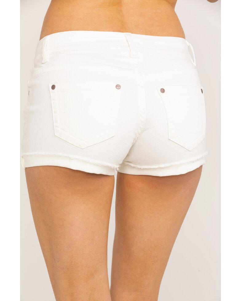 Shyanne Women's White Basic Low Rise Shorts , White, hi-res