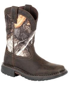 Rocky Boys' Big Kid Ride FLX Waterproof Western Work Boots - Soft Toe, Brown, hi-res
