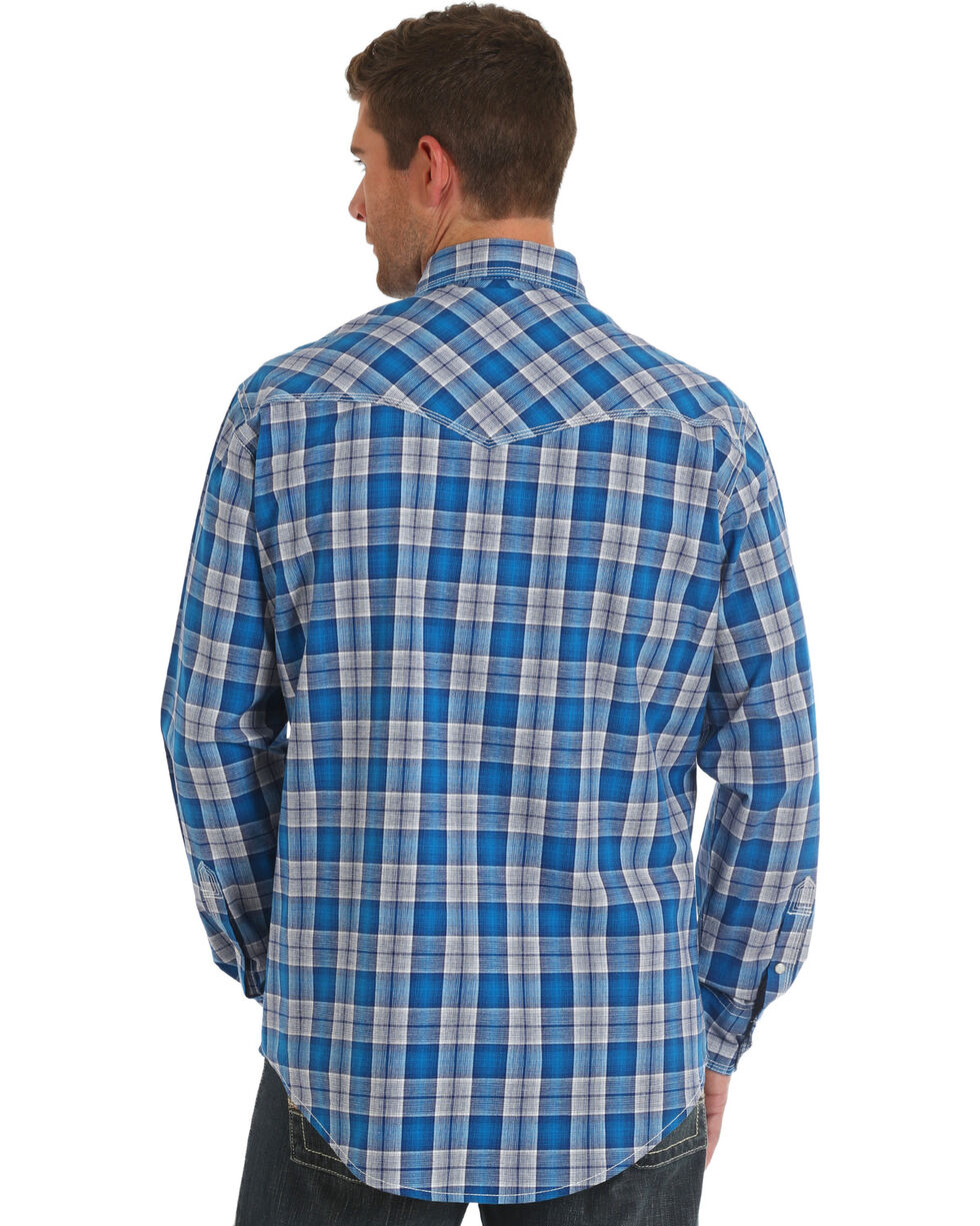 Wrangler 20X Men's Blue Plaid Competition Advanced Comfort Shirt , Blue, hi-res