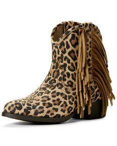 Ariat Youth Girls' Duchess Leopard print Western Booties - Round Toe, Leopard, hi-res