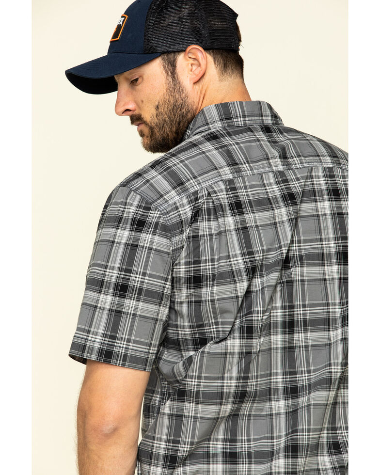 Carhartt Men's Black Rugged Flex Bozeman Plaid Short Sleeve Work Shirt , , hi-res