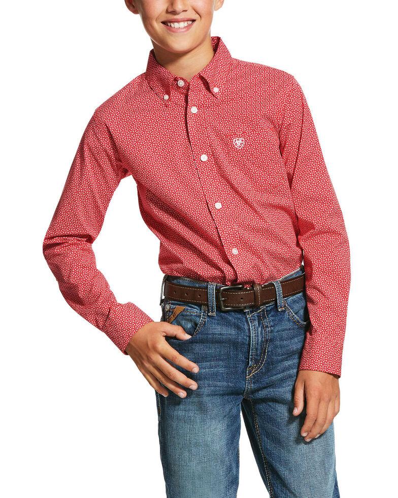 Ariat Boys' Nakima Geo Print Long Sleeve Western Shirt , Red, hi-res