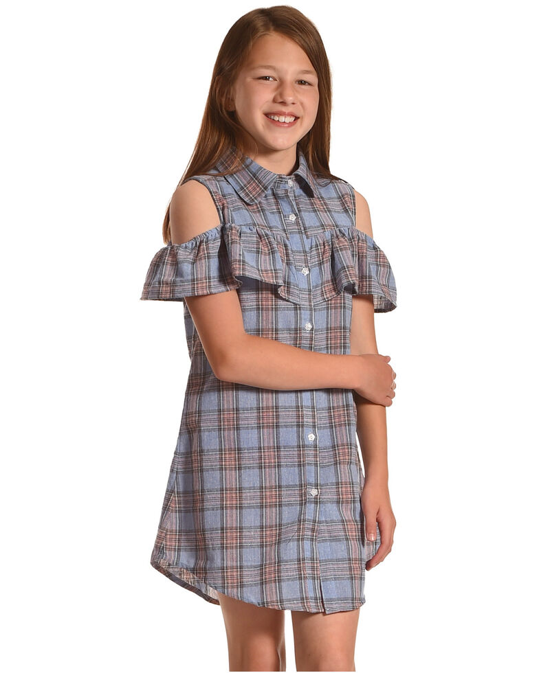 Idol Mind Girls' Plaid Peek-A-Boo Dress, Blue, hi-res