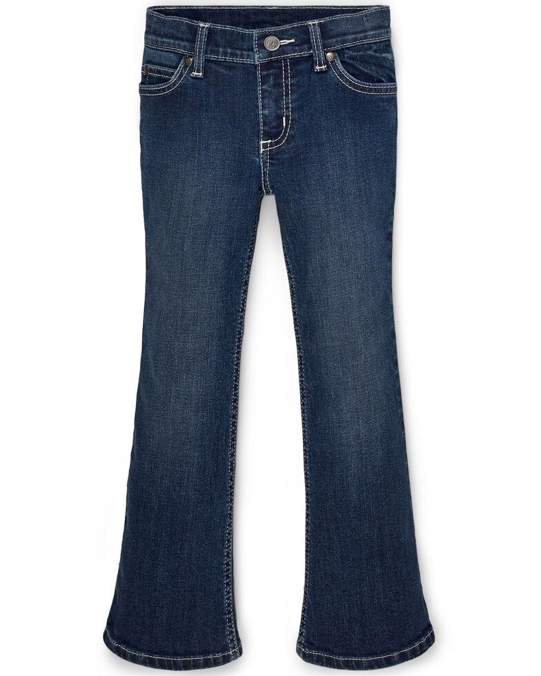 Wrangler Girls' Sadie Dark Embroidered Bootcut Jeans , Blue, hi-res