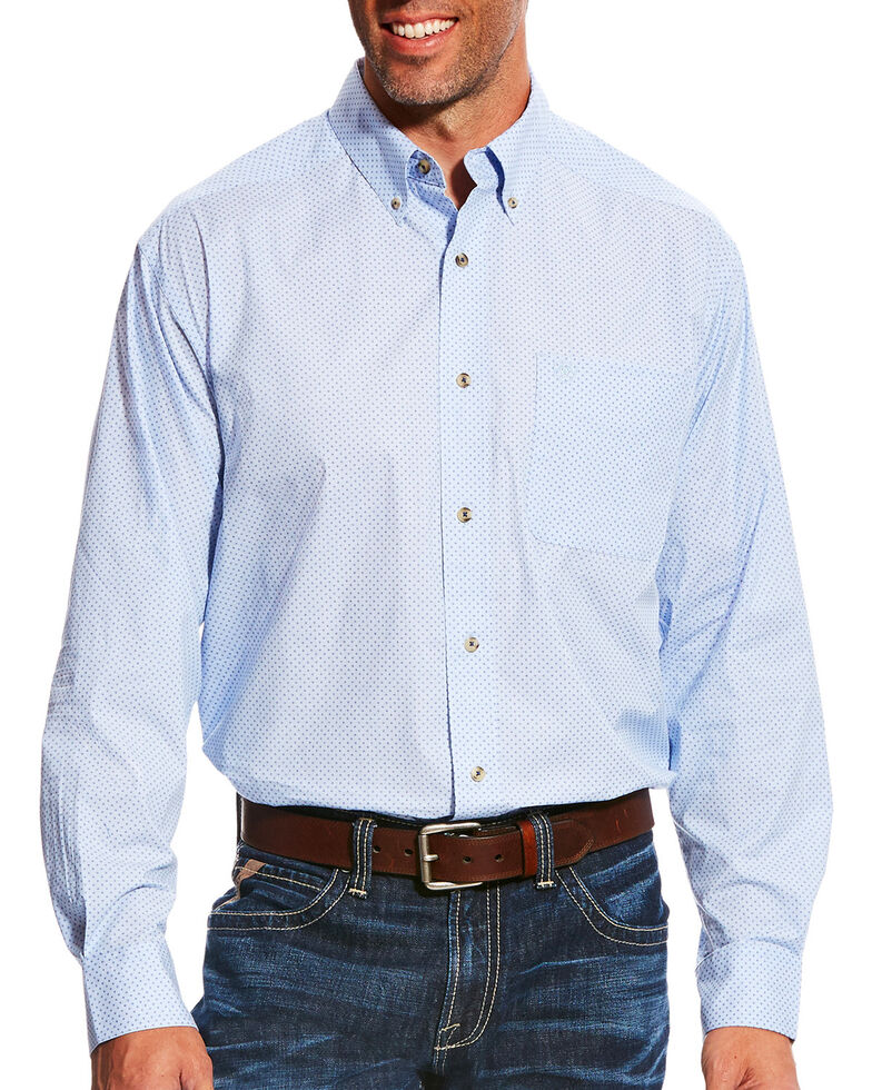 Ariat Men's Light Blue Miley Long Sleeve Western Shirt , Light Blue, hi-res
