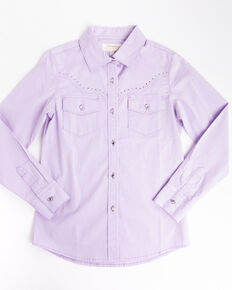 Shyanne Girls' Purple Rhinestone Long Sleeve Western Shirt , Purple, hi-res