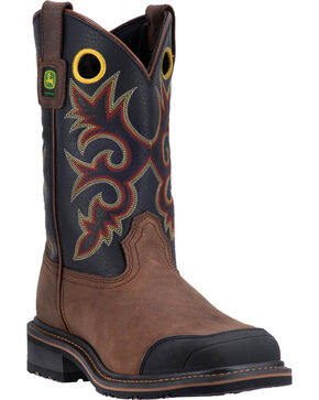 John Deere Men's Pull-On Western Work Boots - Square Toe , Brown, hi-res