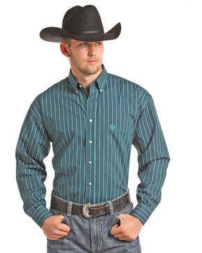 Panhandle Men's Teal Peached Poplin Print Shirt , Teal, hi-res