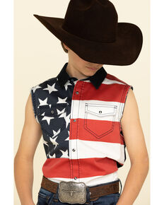 Cody James Boys' Americana Bubba Sleeveless Western Shirt , Red/white/blue, hi-res