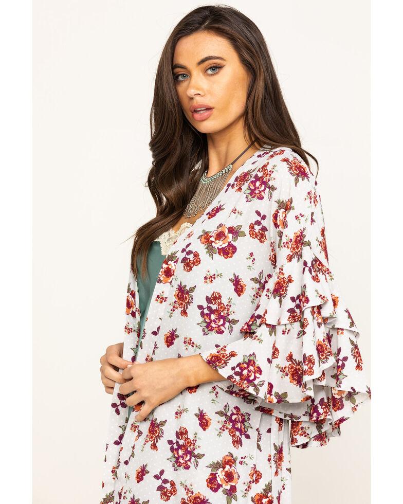 Wrangler Women's Grey Floral Belted Duster, Grey, hi-res
