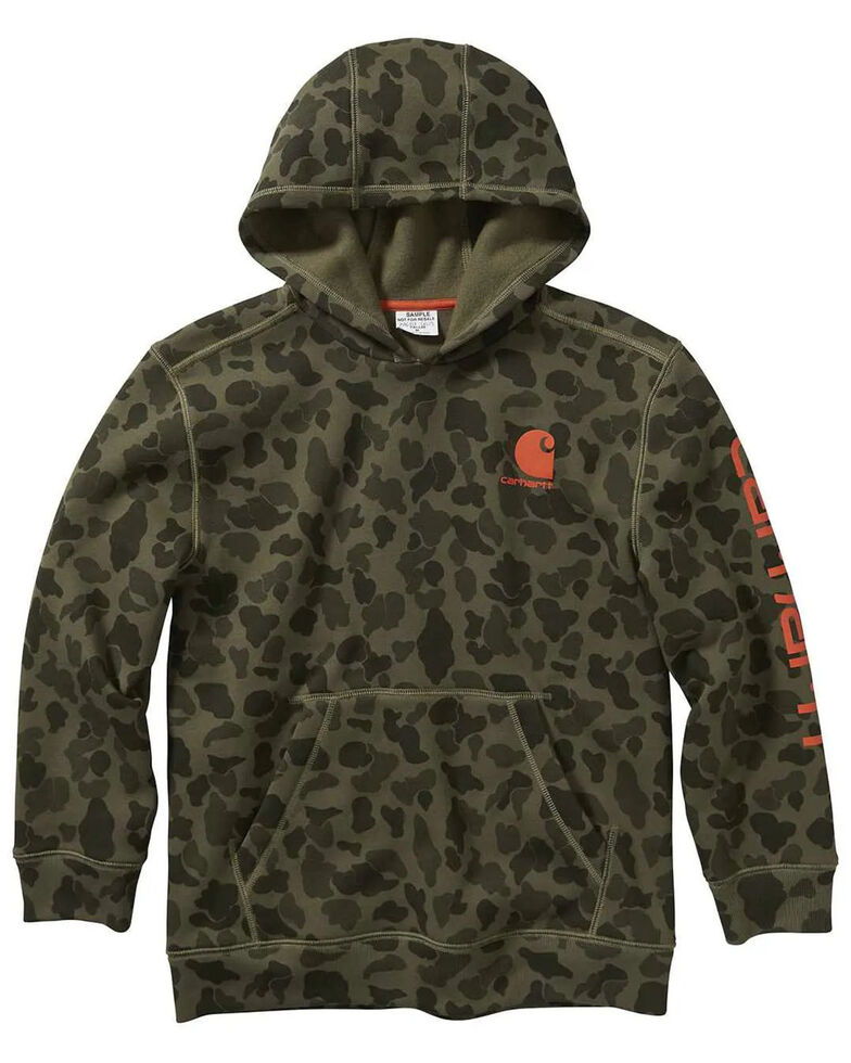 Carhartt Boys' 4-7 Multi Camo Print Fleece Hooded Sweatshirt , Multi, hi-res