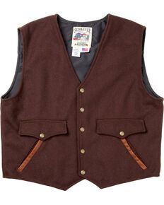 Schaefer Outfitter Men's Chocolate Stockman Melton Wool Vest , Chocolate, hi-res