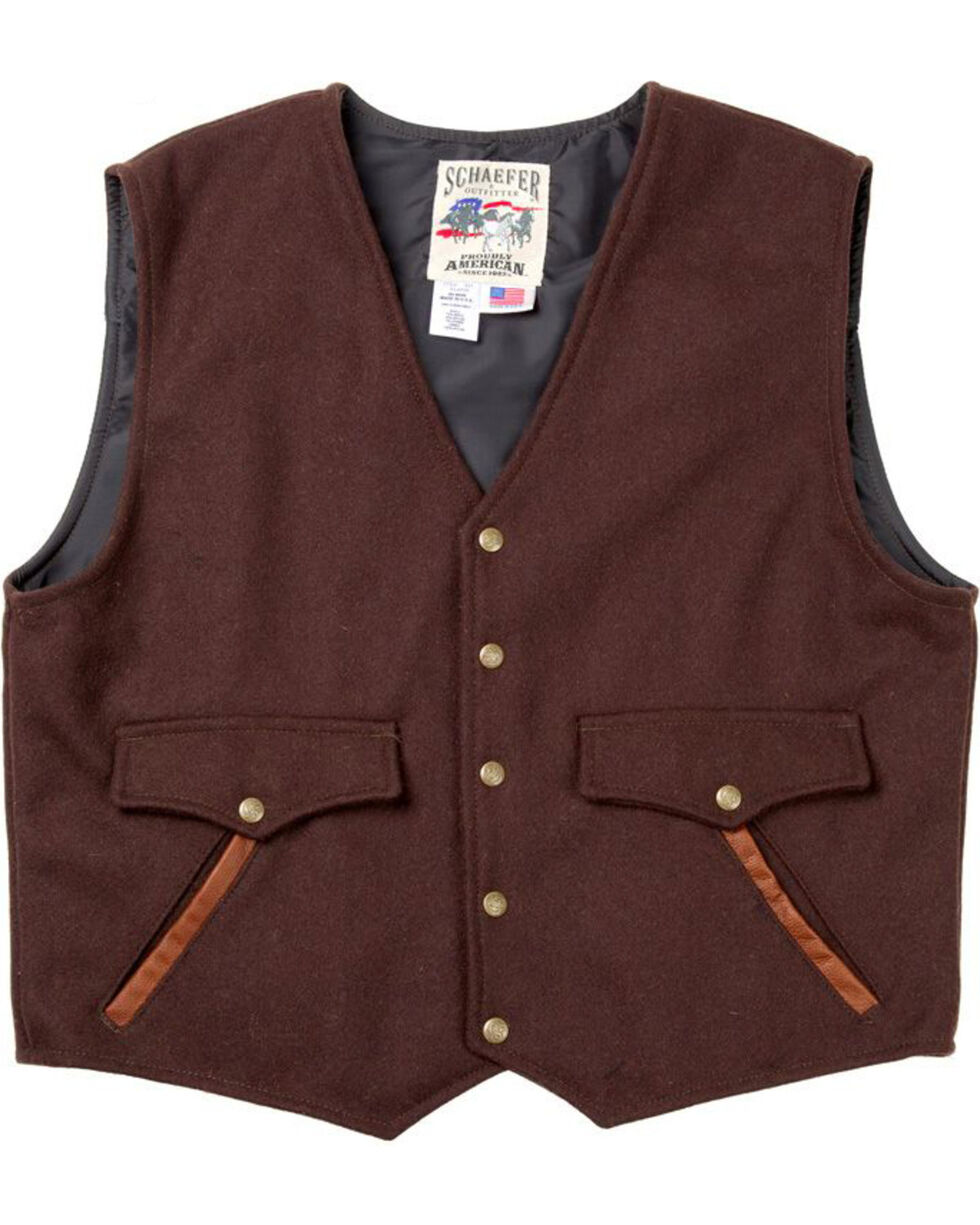 Schaefer Outfitter Men's Chocolate Stockman Melton Wool Vest - 2XL, Chocolate, hi-res