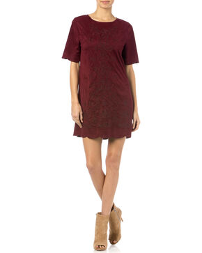 Miss Me Red Wine Crewneck Dress, Wine, hi-res