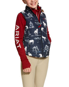 Ariat Girls' Emma Reversible Puffer Vest , Black, hi-res