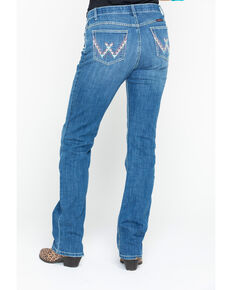 Wrangler Women's Shiloh Ultimate Riding Low Aztec Pocket Boot Jeans , Medium Blue, hi-res
