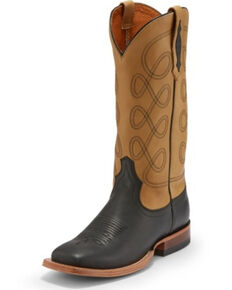 Tony Lama Women's Naomi Buckskin Western Boots - Square Toe, Chocolate, hi-res