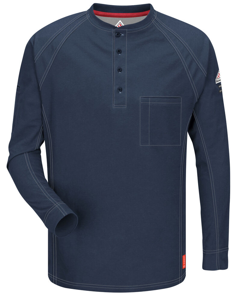 Bulwark Men's Dark Blue iQ Series Flame Resistant Henley Work Shirt , Dark Blue, hi-res