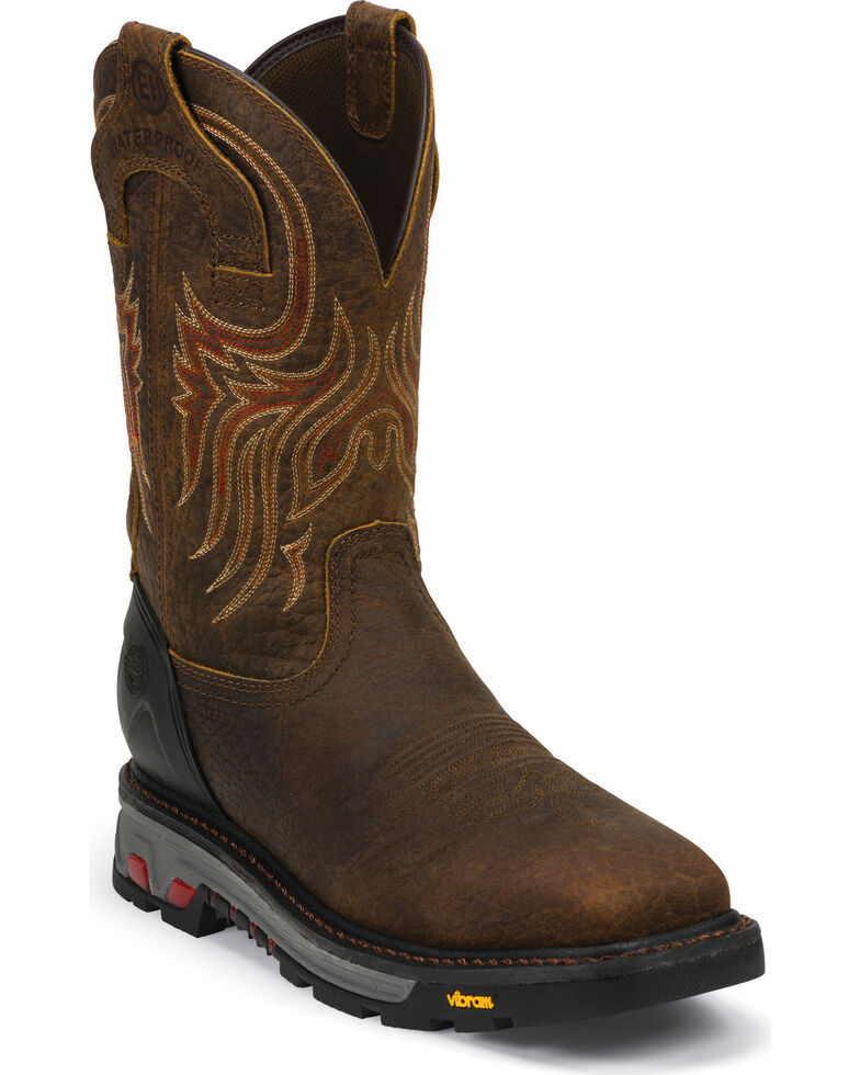 Justin Men's Waterproof Square Steel Toe Work Boots, Mahogany, hi-res