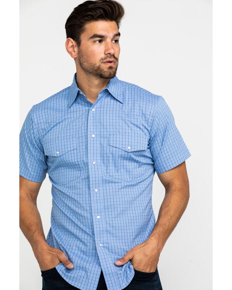 Wrangler Men's Wrinkle Resist Check Plaid Short Sleeve Western Shirt , Purple, hi-res