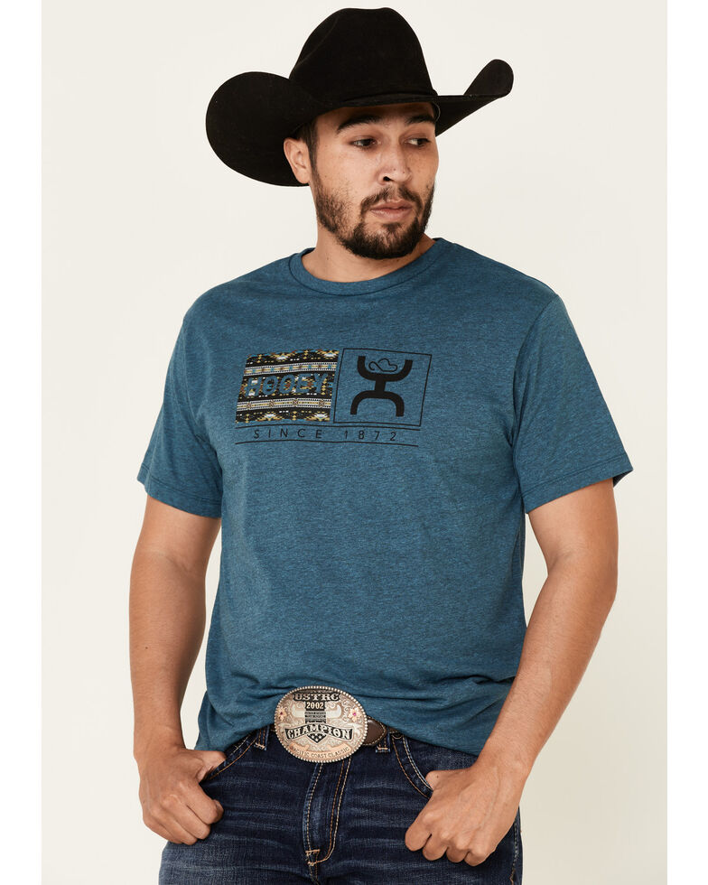 HOOey Men's Turquoise Roots Aztec Logo Graphic T-Shirt  , Turquoise, hi-res