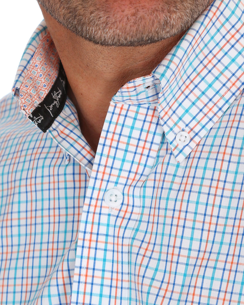 Wrangler Men's George Strait Checker Print Shirt , Orange, hi-res