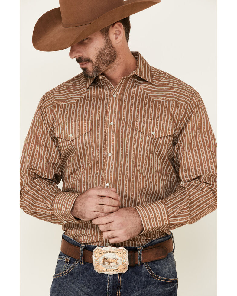 Roper Men's Brown Striped Long Sleeve Snap Western Shirt , Brown, hi-res