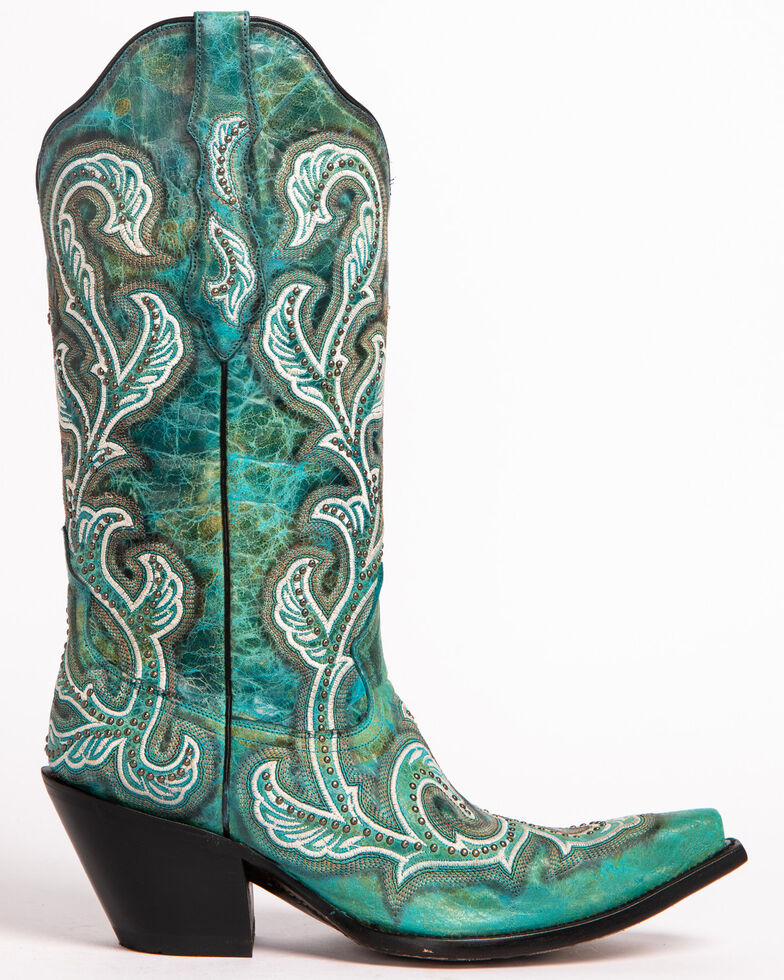 Corral Women's Stud & Embroidery Western Boots, Turquoise, hi-res