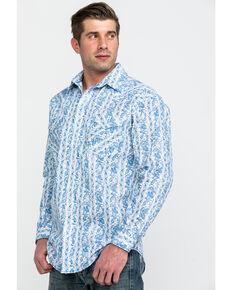 Rough Stock By Panhandle Men's Falleri Vintage Print Long Sleeve Western Shirt , White, hi-res
