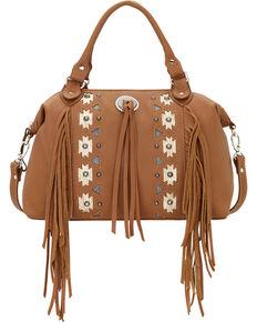 American West Women's Chenoa Large Zip-Top Convertible Satchel, Tan, hi-res