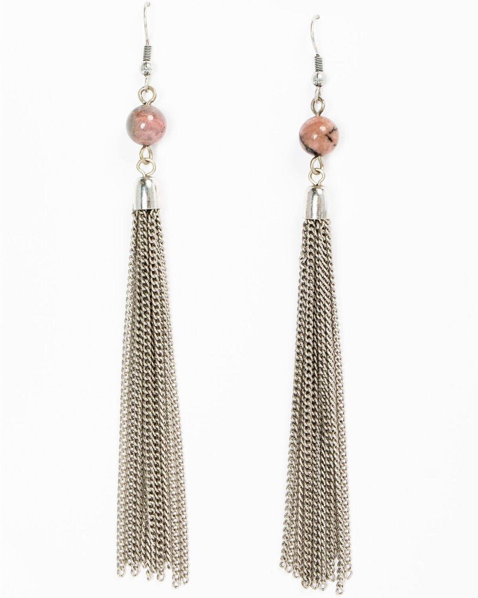 Shyanne Women's Mojave Pink Chain Earrings, Silver, hi-res