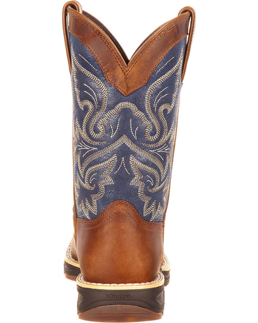 Durango Women's Ultra-Lite Western Work Boots, Brown/blue, hi-res