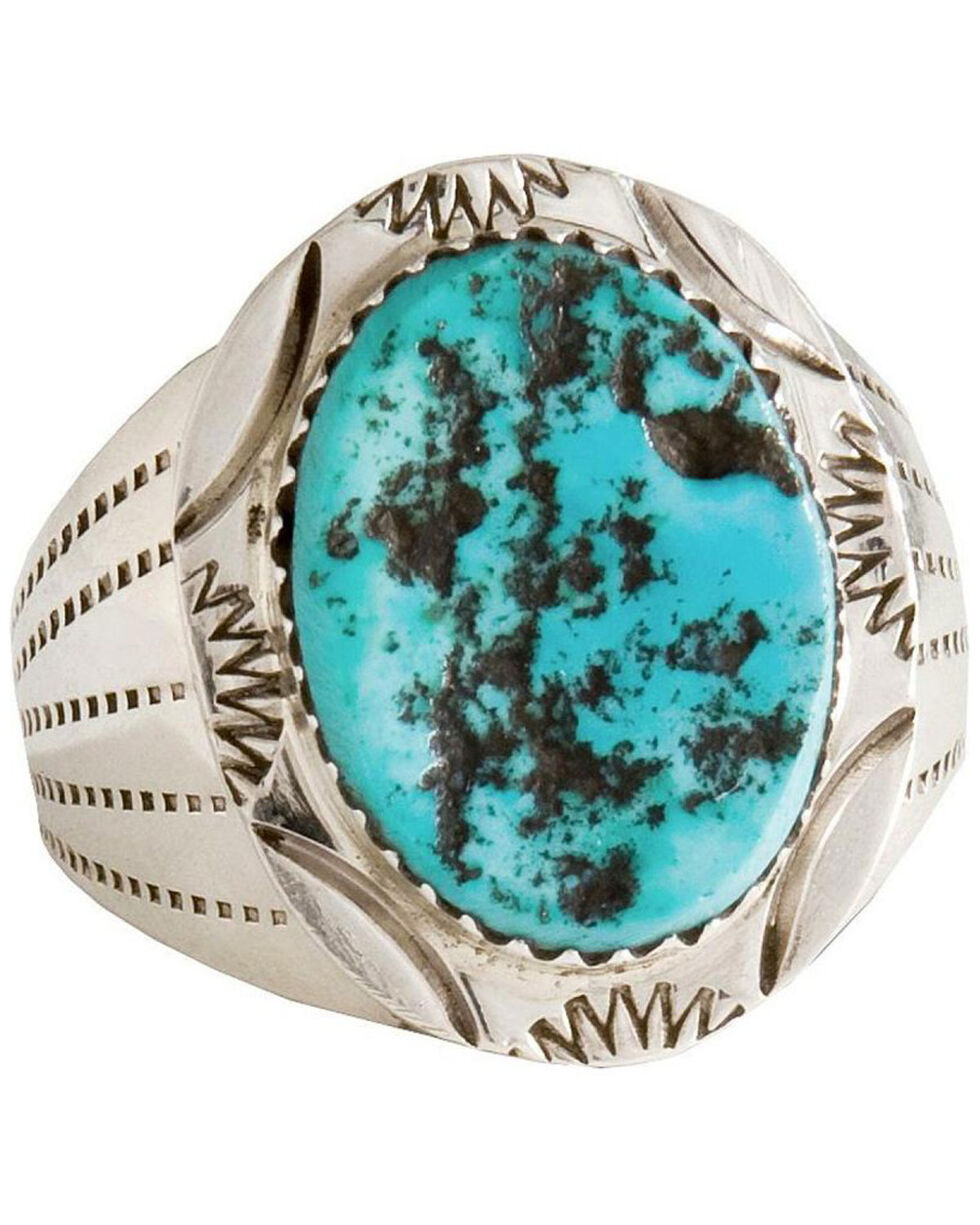 Turquoise Stone Ring, Silver, hi-res