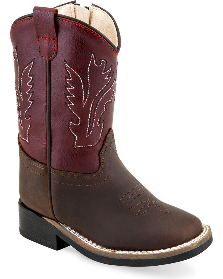 Old West Toddler Girls' Brown Fancy Stitch Boots - Square Toe , Brown, hi-res