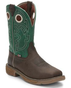 Justin Men's Brown Stampede Rush Western Work Boots - Soft Toe, Brown, hi-res