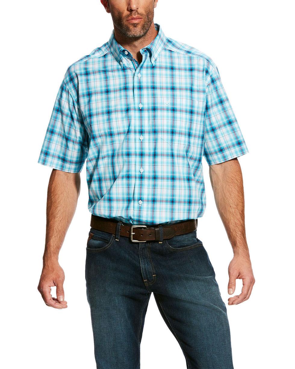 Ariat Men's Falker Plaid Short Sleeve Western Shirt - Big & Tall , White, hi-res